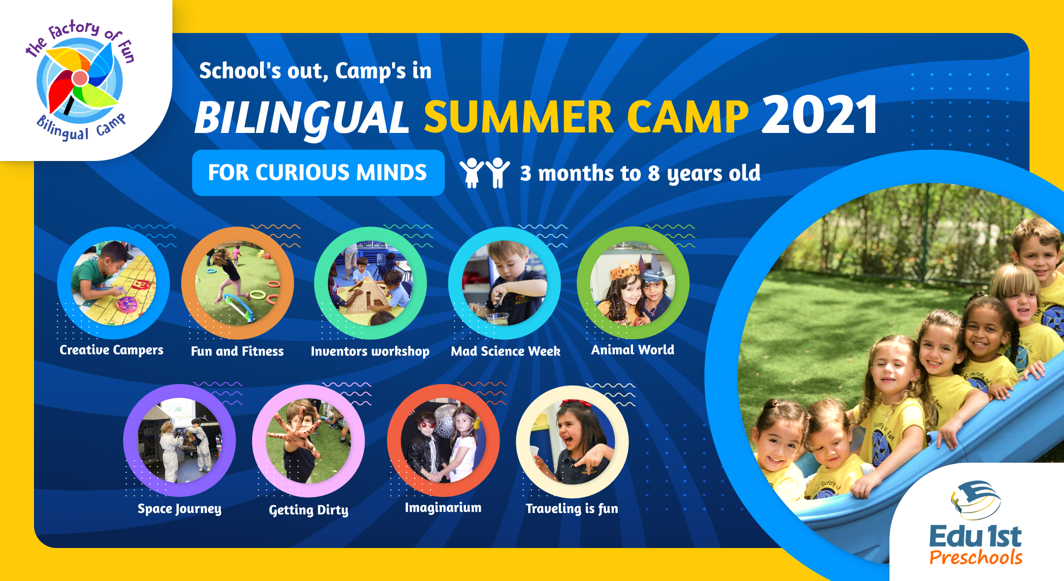 Summer camp 3 months to 8 years old Evento estndar